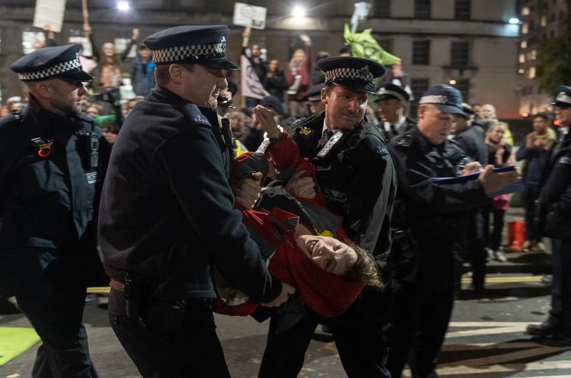 Foto arrestatie Extinction Rebellion Londen 2019